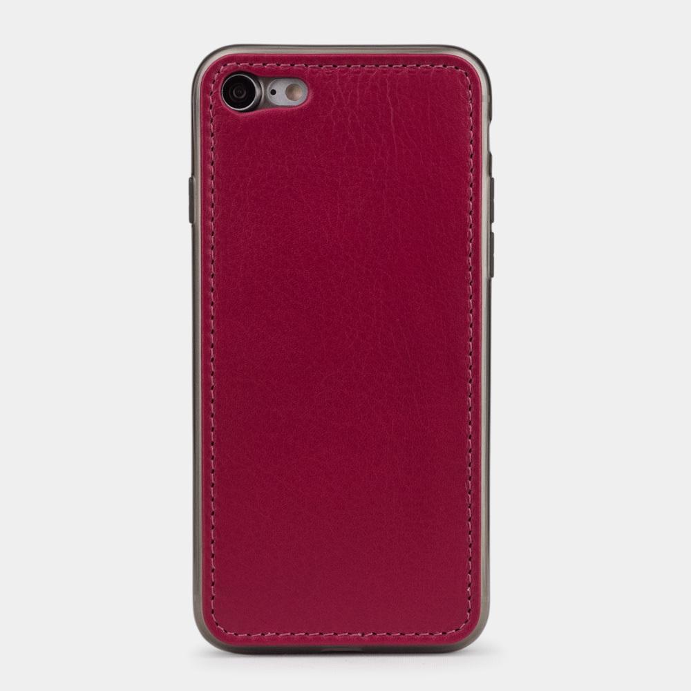 Чехол-накладка для iPhone 8/SE из натуральной кожи теленка, цвета малины