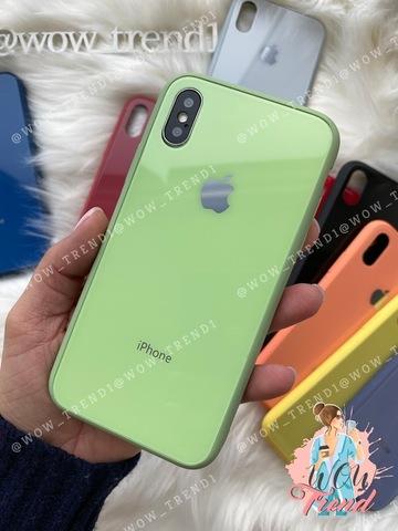 Чехол iPhone X/XS Glass Pastel color Logo /mint/
