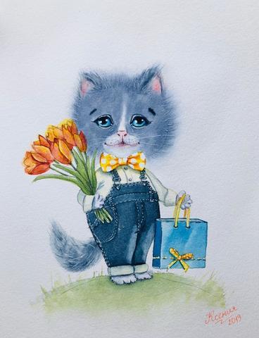 Картина художника акварелиста. Котик с букетом цветов.