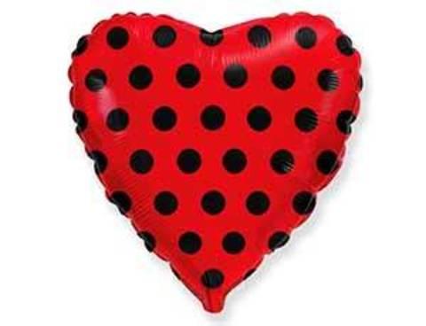 Фольгированный шар сердце Горошек черный на красном