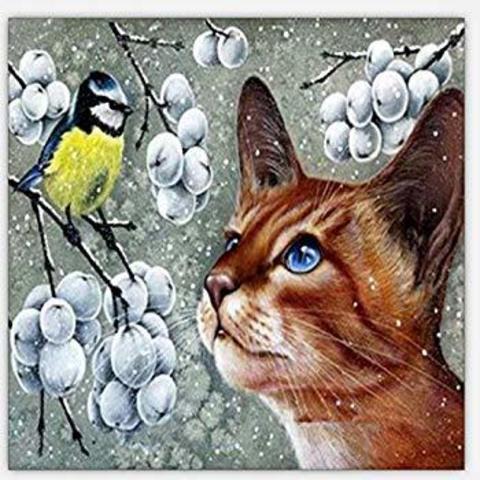 Алмазная Мозаика 20x30 Рыжий кот и птица
