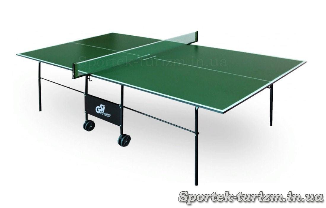 Складаний тенісний стіл для приміщень на колесах (зелений)