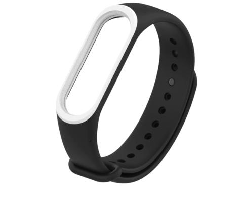 Ремешок для браслета Xiaomi Mi Band 3/4 черный с белым