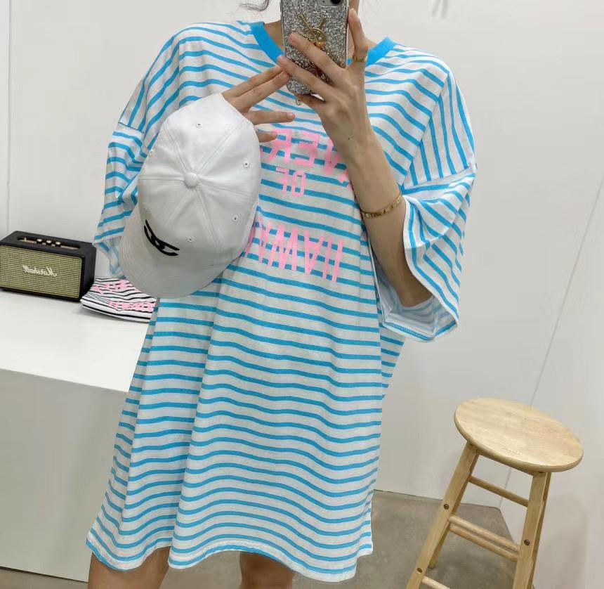 Тельняшка-платье с принтом, белый с голубым