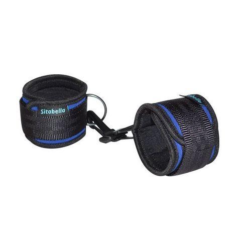 Сине-черные неопреновые наручники с карабинами