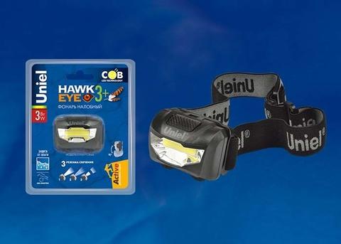 S-HL017-C Black Фонарь налобный TM Uniel, серия Стандарт «Hawkeye- 3Watt+». Пластиковый корпус, COB, 3хААА н/к. Упаковка кламшелл.