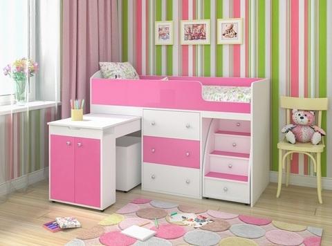 Кровать-чердак Малыш розовый в комнате