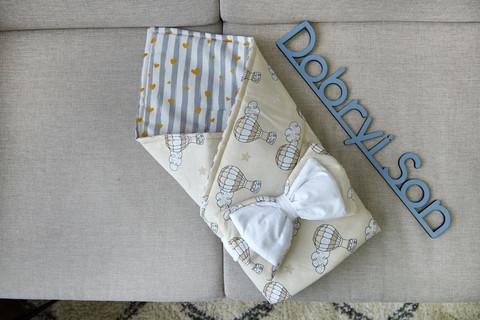 Конверт-плед для новорожденных бязь-бязь 80 6-01 Бежевый с воздушными шарами