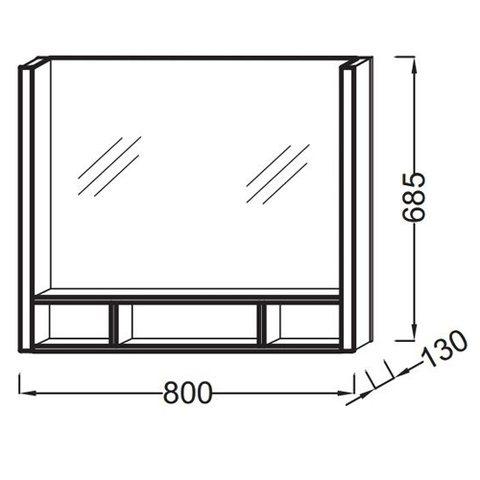 Зеркало с подсветкой Jacob Delafon Terrace 80x68 EB1181-NF схема