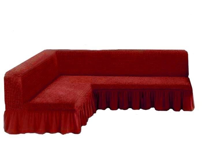 Чехол на угловой диван без подлокотников, терракотовый