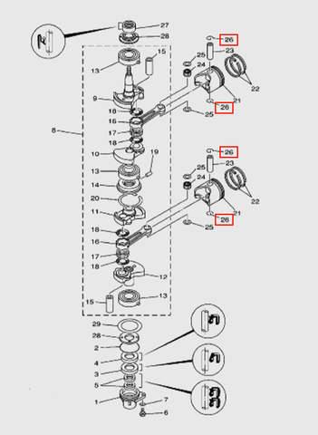 Кольцо стопорное пальца  для лодочного мотора T15, OTH 9,9 SEA-PRO (3-26)