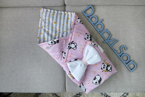 Конверт-плед для новорожденных бязь-бязь 80 6-01 Розовый с пандой