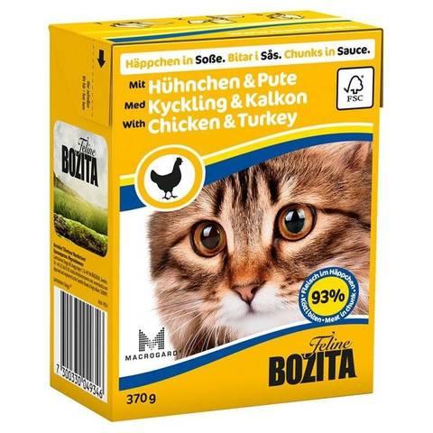 BOZITA Feline консервы для кошек кусочки в соусе с курицей 370г