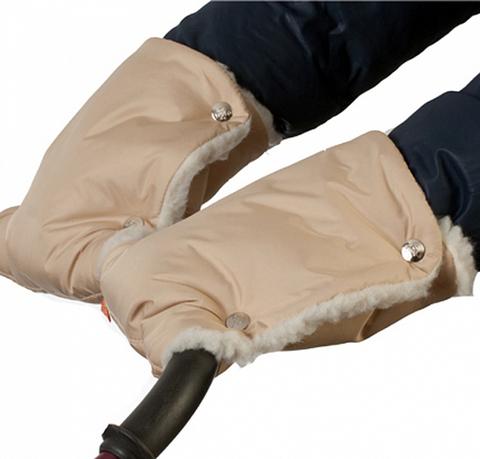 Муфты-рукавички на коляску однотон. (мех) Серые