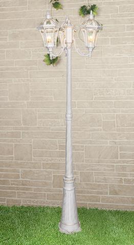 Уличный трехрожковый светильник на столбе IP44 Capella F/3 белое золото