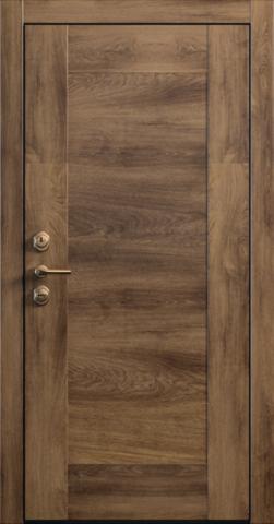 Входная дверь «Quadro 1» в цвете, Дуб коньяк (натуральный шпон)
