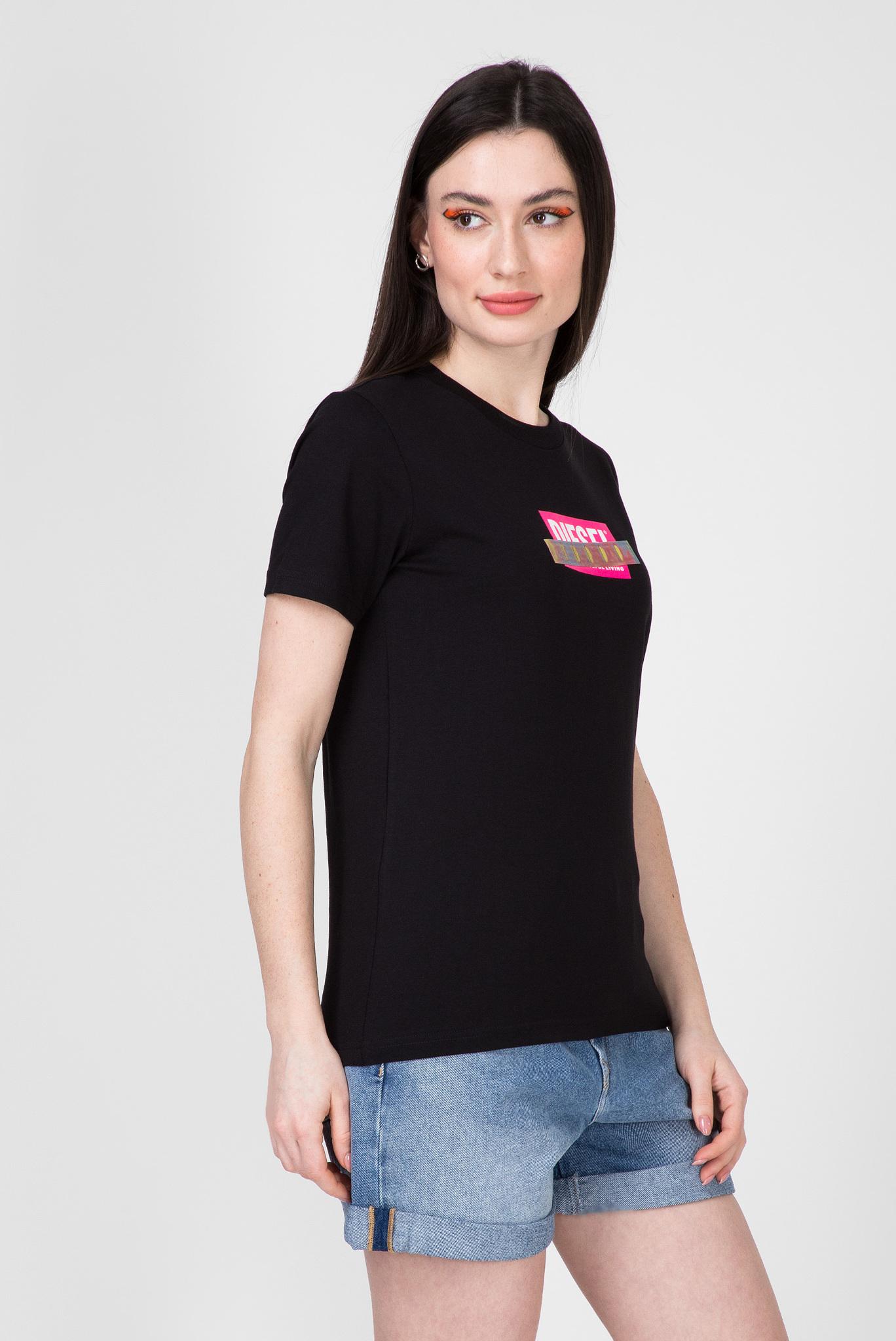 Женская черная футболка T-SILY-S2 Diesel