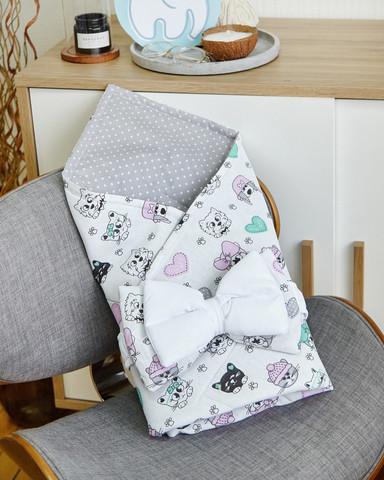Конверт-плед для новорожденных бязь-бязь 80 6-01 Белый с котиками