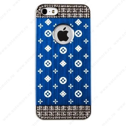 Накладка LV металлическая для iPhone SE/ 5s/ 5C/ 5 серебро синяя