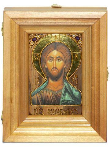 Подарочная икона Господь Вседержитель с нимбом из сусального золота 15х10см в березовом киоте