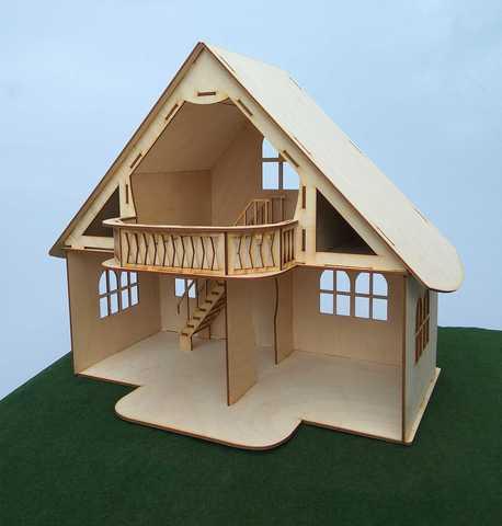 Кукольный домик из фанеры с мансардой и балконом