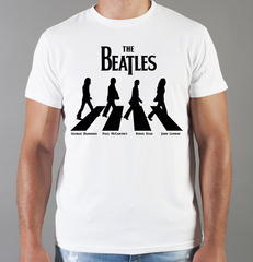 Футболка с принтом Битлз (The Beatles) белая 0012