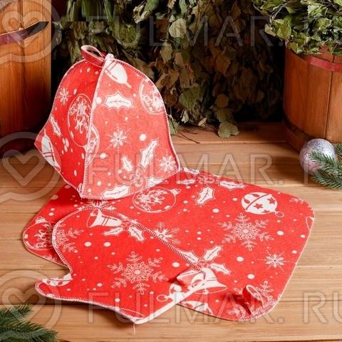 Набор в баню Универсальный Новогодний с термопечатью 3 элемента: шапка, коврик, рукавица цвет: красный