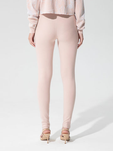 Женские брюки светло-розового цвета с рельефными полосками из вискозы - фото 3