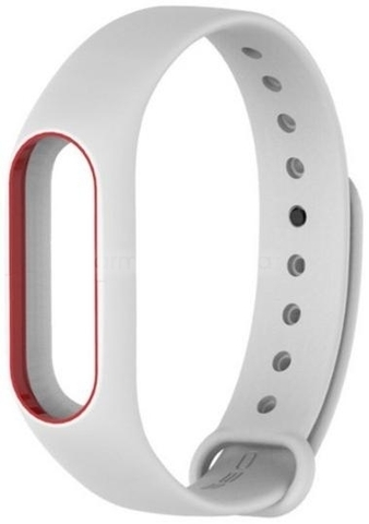 Ремешок для браслета Xiaomi Mi Band 3/4 белый с красным