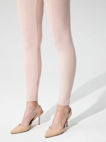 Женские брюки светло-розового цвета с рельефными полосками из вискозы - фото 5