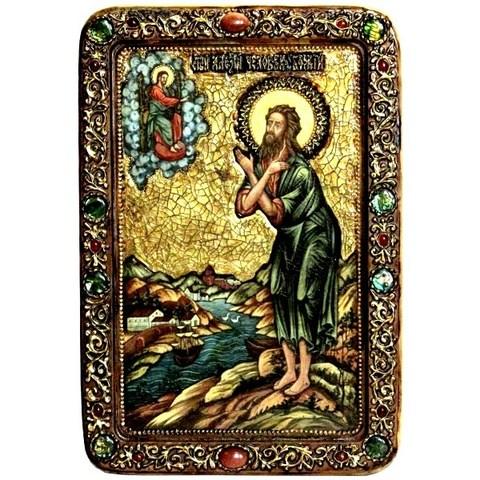 Инкрустированная живописная икона Преподобный Алексий, человек Божий 42х29см на натуральном кипарисе в подарочной коробке