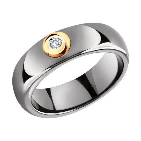 6015077 - Кольцо из золота с бриллиантами и керамическими вставками