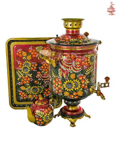 Самовар «Подсолнухи» электрический формой банка 10 л в наборе с подносом и чайником