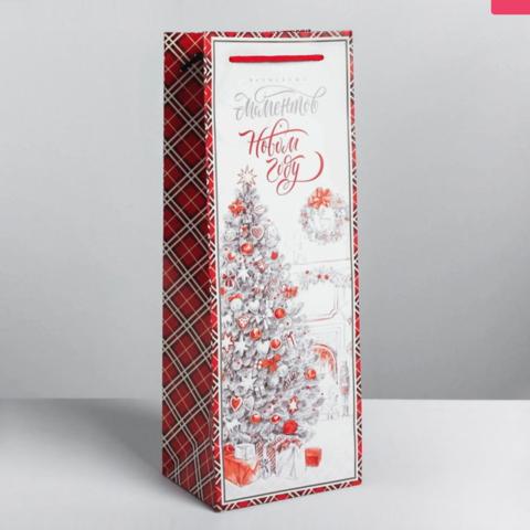 Пакет под бутылку Ёлка 13 × 36 × 10 см цвет: белый-красный