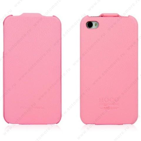 Чехол-флип HOCO для iPhone 4s/ 4 - HOCO Duke Leather Case Pink