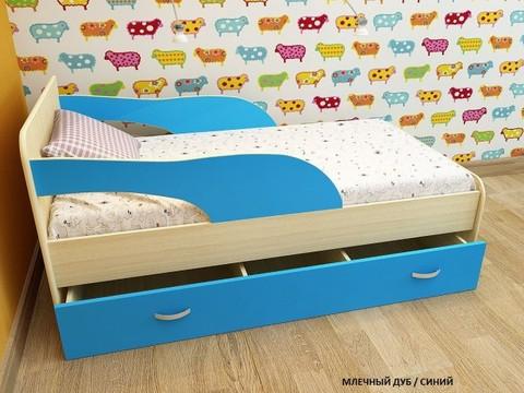Кровать Максимка млечный дуб / голубой