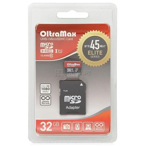 Карта памяти OltraMax microSDHC Class 10 UHS-1 45MB/s 32GB + SD adapter