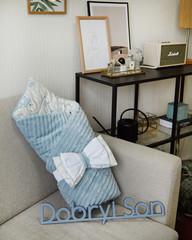 Конверт для новорожденных на выписку Сатин с кантом Голубой с мишками
