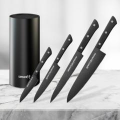 Набор из 4 кухонных стальных ножей Samura Shadow и подставки KBF-101