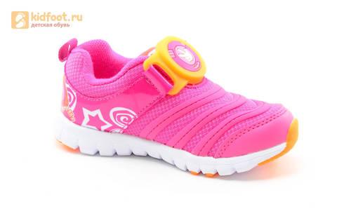 Светящиеся кроссовки для девочек Фиксики на липучках, цвет фуксия, мигает пряжка на липучке. Изображение 2 из 16.