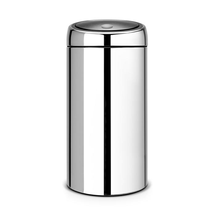Двухсекционный мусорный бак Touch Bin (2х20 л), Стальной полированный, арт. 401060 - фото 1