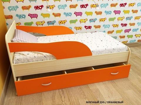 Кровать Максимка млечный дуб / оранж