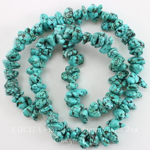 Бусина Говлит (тониров), крошка, цвет - бирюзовый, 10-15 мм, нить