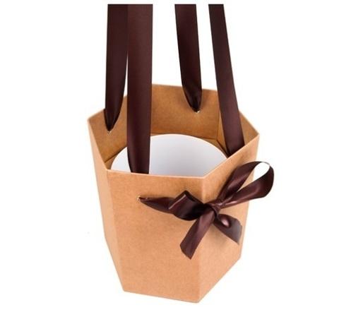 Коробка-ваза с пластиковой вставкой 20х20х22см М крафт
