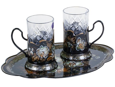 Zhostovo set of 2 tea glass holders and hand forged tray SET03D310519001
