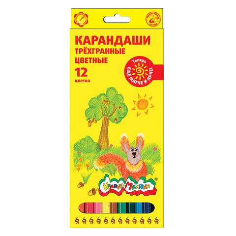 Карандаши цветные трехгранные Каляка-Маляка 12 цветов/КТКМ12