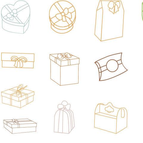 узор с подарочными коробками разных типов. Линейный рисунок на белом фоне