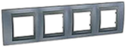 Рамка на 4 поста. Цвет Грэй-графит. Schneider electric Unica Top. MGU66.008.297