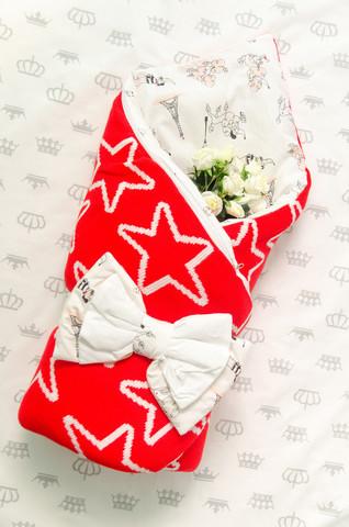 Конверт на выписку новорожденных из роддома (Звезда Красный)