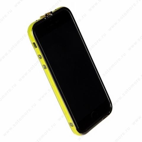 Бампер Heimeiren металический для iPhone 6s/ 6 желтый каемка серебро